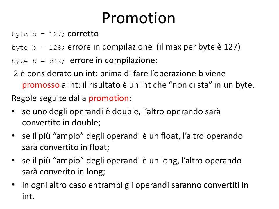 Promotion byte b = 127; corretto byte b = 128; errore in compilazione (il max per byte è 127) byte b = b*2; errore in compilazione: 2 è considerato un