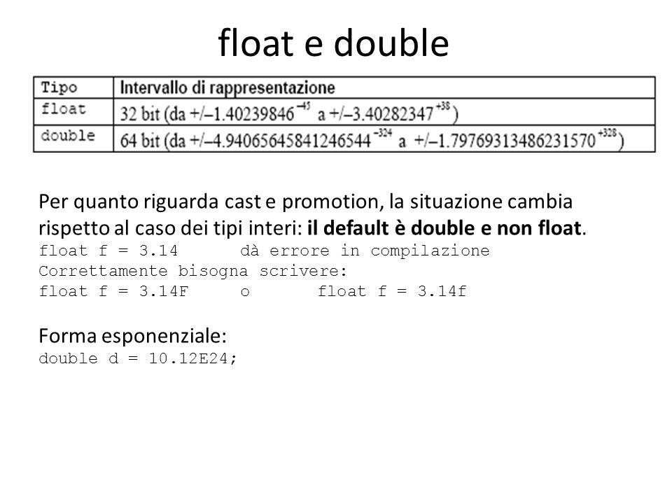 float e double Per quanto riguarda cast e promotion, la situazione cambia rispetto al caso dei tipi interi: il default è double e non float. float f =
