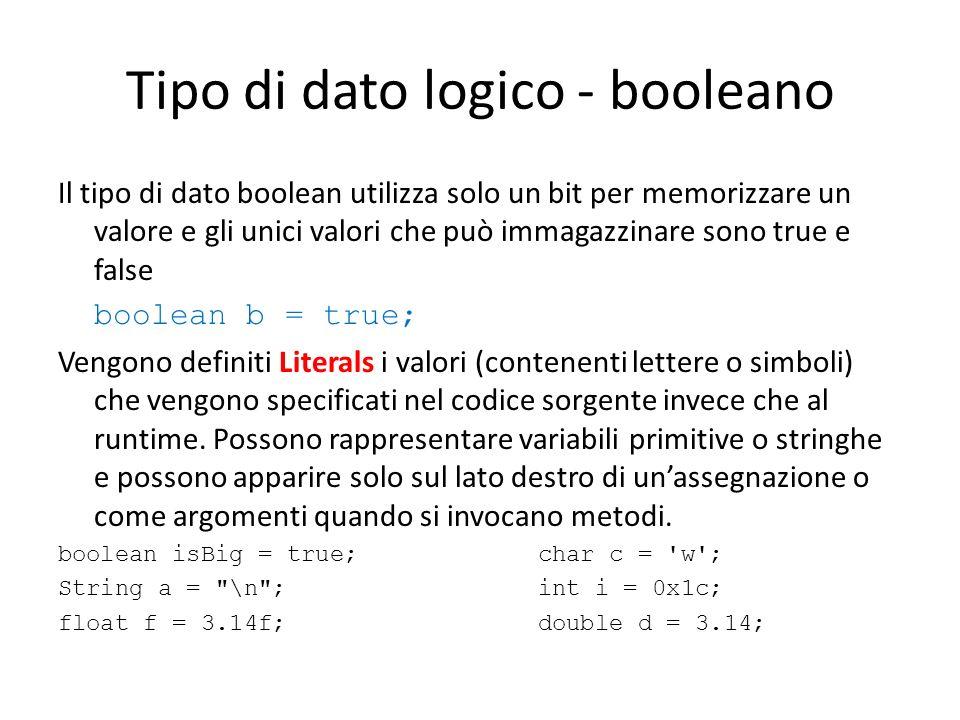 Tipo di dato logico - booleano Il tipo di dato boolean utilizza solo un bit per memorizzare un valore e gli unici valori che può immagazzinare sono tr