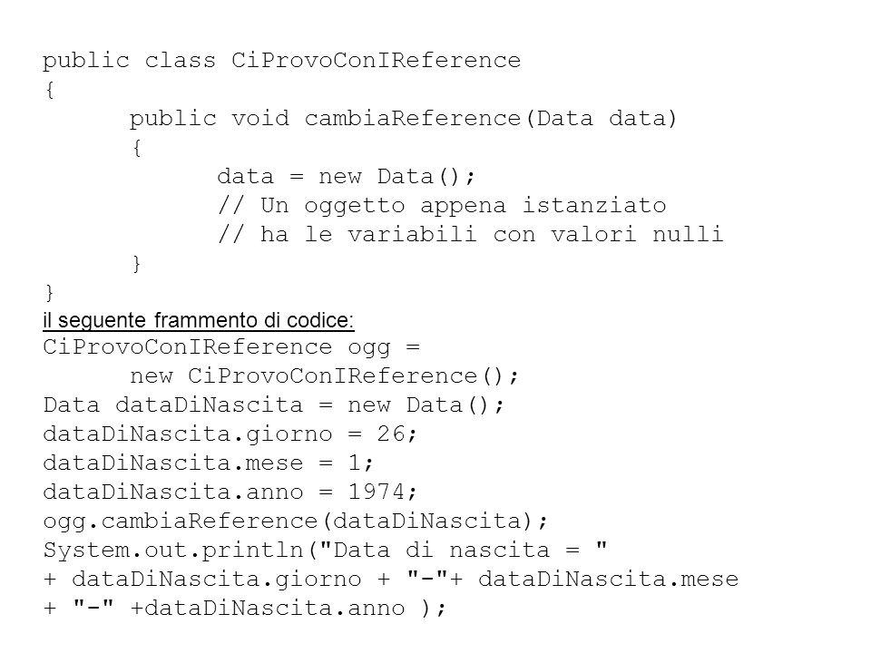 public class CiProvoConIReference { public void cambiaReference(Data data) { data = new Data(); // Un oggetto appena istanziato // ha le variabili con