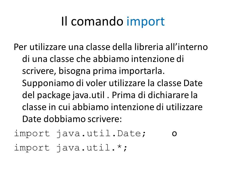 Il comando import Per utilizzare una classe della libreria allinterno di una classe che abbiamo intenzione di scrivere, bisogna prima importarla. Supp