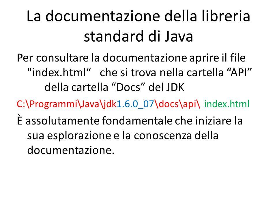 La documentazione della libreria standard di Java Per consultare la documentazione aprire il file