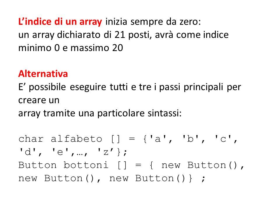 Lindice di un array inizia sempre da zero: un array dichiarato di 21 posti, avrà come indice minimo 0 e massimo 20 Alternativa E possibile eseguire tu