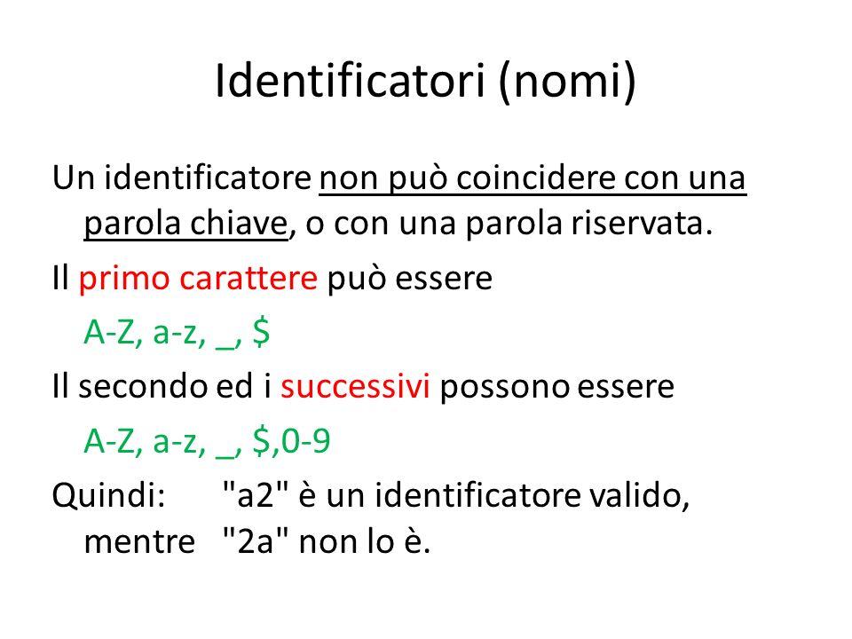 Identificatori (nomi) Un identificatore non può coincidere con una parola chiave, o con una parola riservata. Il primo carattere può essere A-Z, a-z,