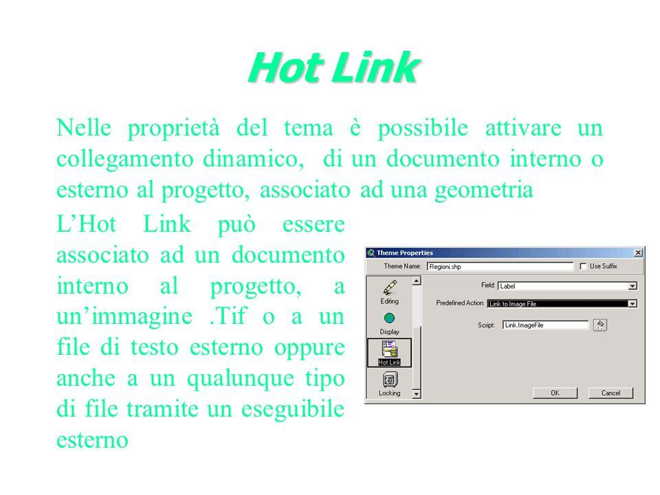 Nelle proprietà del tema è possibile attivare un collegamento dinamico, di un documento interno o esterno al progetto, associato ad una geometria Hot Link LHot Link può essere associato ad un documento interno al progetto, a unimmagine.Tif o a un file di testo esterno oppure anche a un qualunque tipo di file tramite un eseguibile esterno