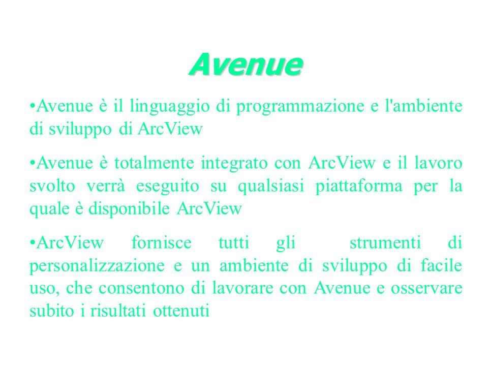 Avenue è il linguaggio di programmazione e l ambiente di sviluppo di ArcView Avenue è totalmente integrato con ArcView e il lavoro svolto verrà eseguito su qualsiasi piattaforma per la quale è disponibile ArcView ArcView fornisce tutti gli strumenti di personalizzazione e un ambiente di sviluppo di facile uso, che consentono di lavorare con Avenue e osservare subito i risultati ottenuti Avenue
