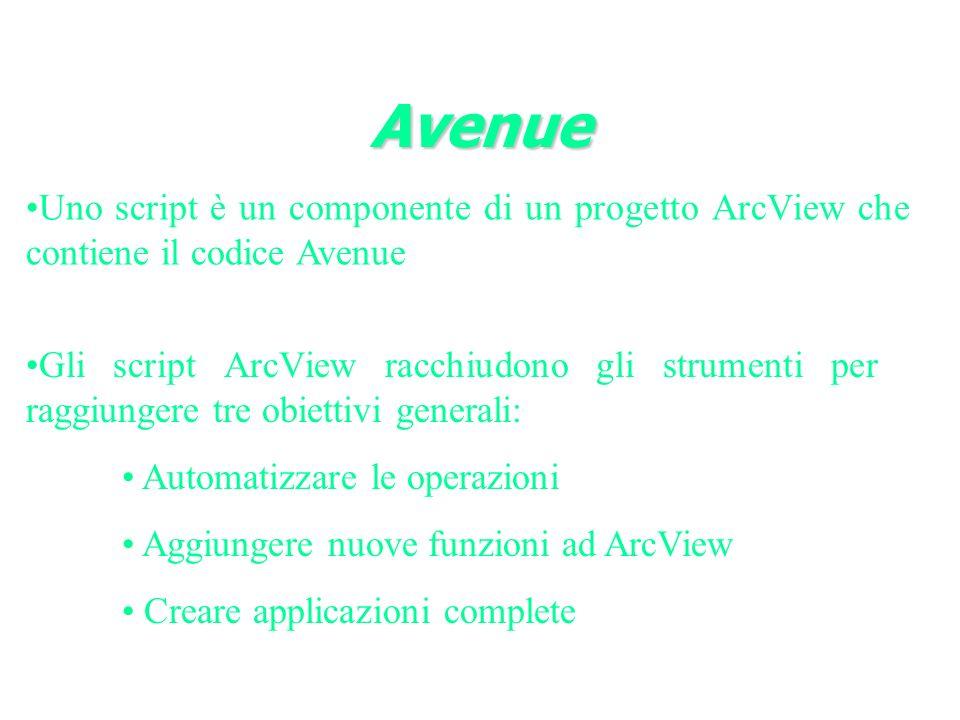Uno script è un componente di un progetto ArcView che contiene il codice Avenue Avenue Gli script ArcView racchiudono gli strumenti per raggiungere tre obiettivi generali: Automatizzare le operazioni Aggiungere nuove funzioni ad ArcView Creare applicazioni complete