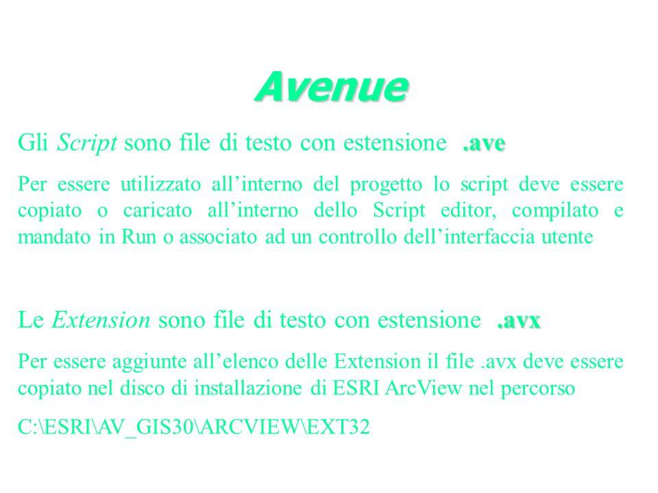 .ave Gli Script sono file di testo con estensione.ave Per essere utilizzato allinterno del progetto lo script deve essere copiato o caricato allinterno dello Script editor, compilato e mandato in Run o associato ad un controllo dellinterfaccia utente.avx Le Extension sono file di testo con estensione.avx Per essere aggiunte allelenco delle Extension il file.avx deve essere copiato nel disco di installazione di ESRI ArcView nel percorso C:\ESRI\AV_GIS30\ARCVIEW\EXT32 Avenue