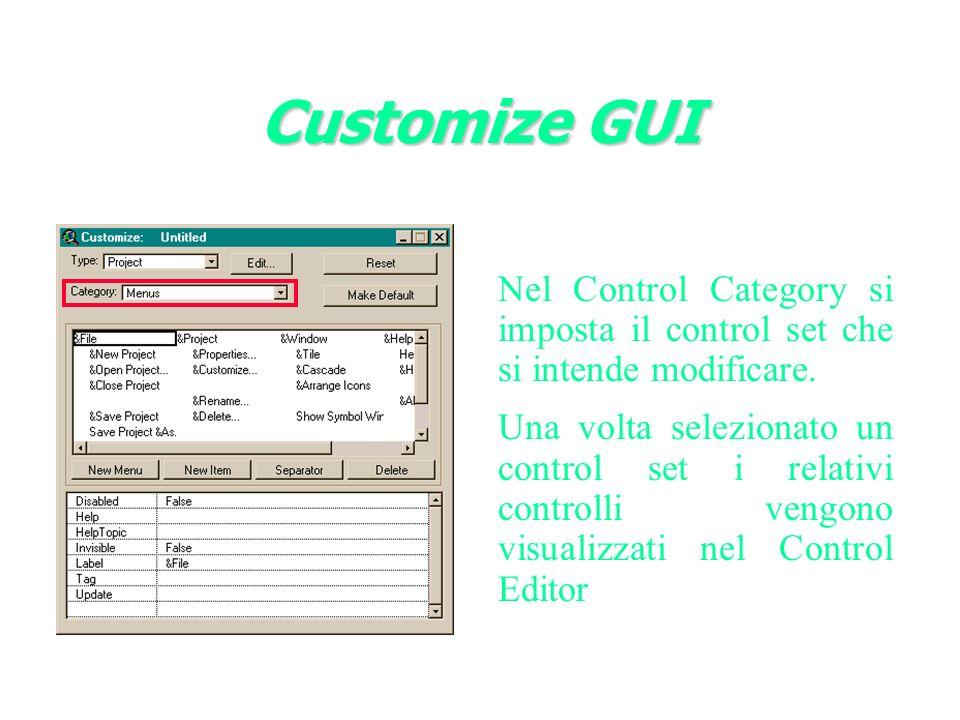 Nel Control Category si imposta il control set che si intende modificare.