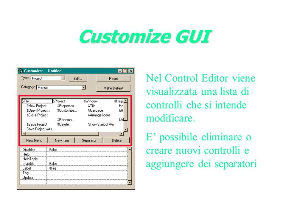 Nel Control Editor viene visualizzata una lista di controlli che si intende modificare.