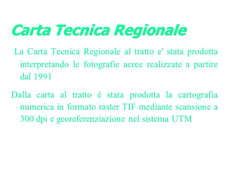 La Carta Tecnica Regionale al tratto e stata prodotta interpretando le fotografie aeree realizzate a partire dal 1991 Dalla carta al tratto è stata prodotta la cartografia numerica in formato raster TIF mediante scansione a 300 dpi e georeferenziazione nel sistema UTM Carta Tecnica Regionale