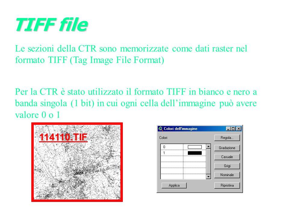 Le sezioni della CTR sono memorizzate come dati raster nel formato TIFF (Tag Image File Format) Per la CTR è stato utilizzato il formato TIFF in bianco e nero a banda singola (1 bit) in cui ogni cella dellimmagine può avere valore 0 o 1 114110.TIF TIFF file