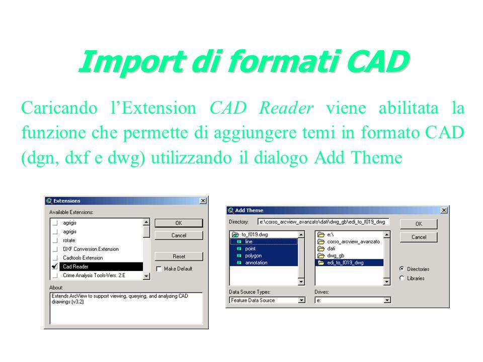 Caricando lExtension CAD Reader viene abilitata la funzione che permette di aggiungere temi in formato CAD (dgn, dxf e dwg) utilizzando il dialogo Add Theme
