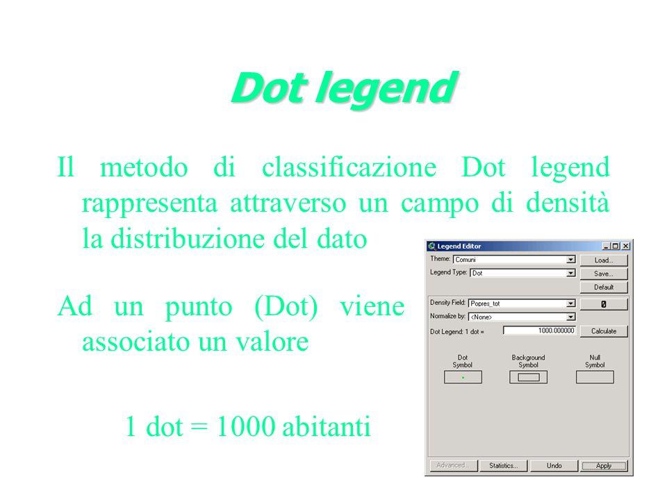 Dot legend Dot legend Il metodo di classificazione Dot legend rappresenta attraverso un campo di densità la distribuzione del dato Ad un punto (Dot) viene associato un valore 1 dot = 1000 abitanti