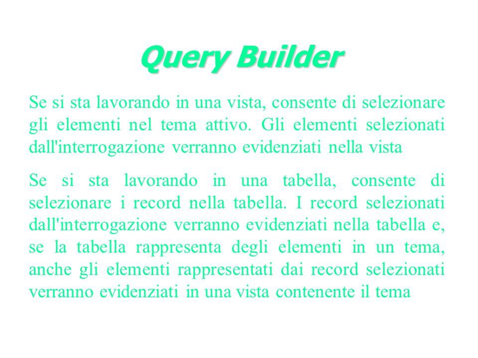 Query Builder Se si sta lavorando in una vista, consente di selezionare gli elementi nel tema attivo.