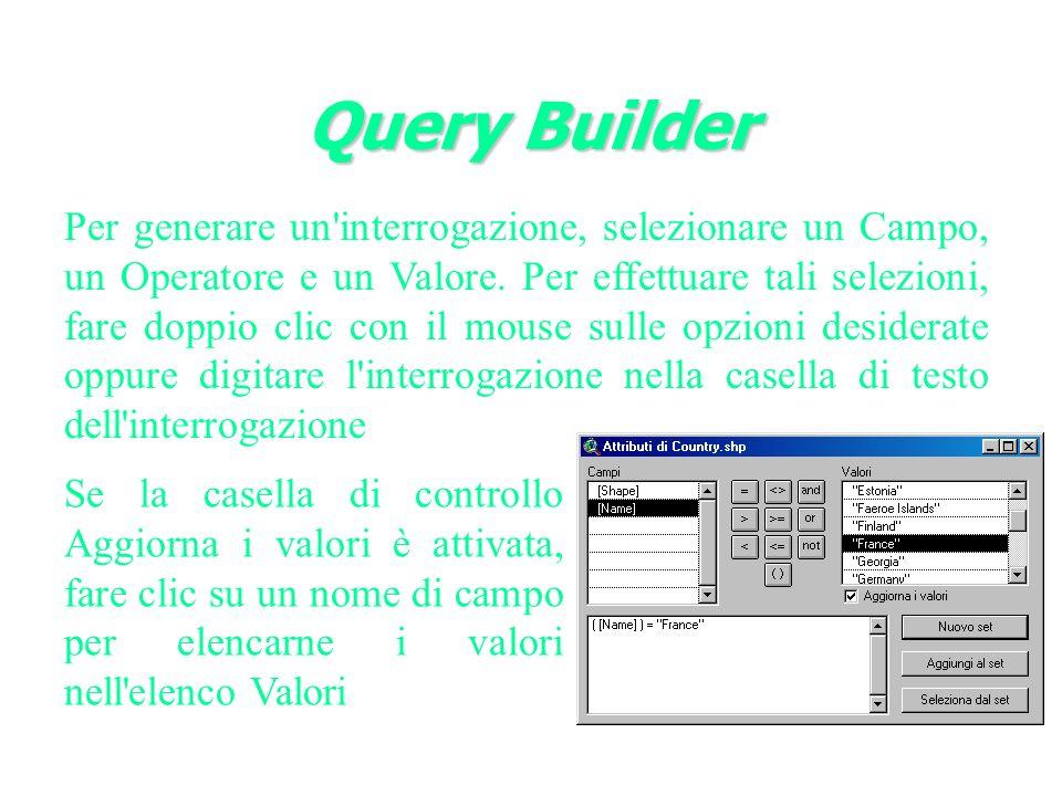 Query Builder Per generare un interrogazione, selezionare un Campo, un Operatore e un Valore.