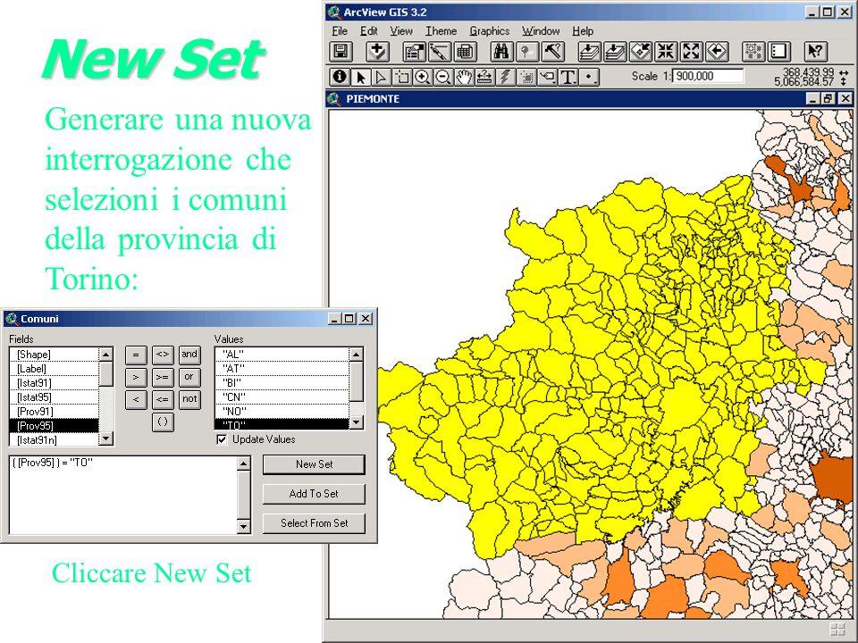 New Set Generare una nuova interrogazione che selezioni i comuni della provincia di Torino: Cliccare New Set