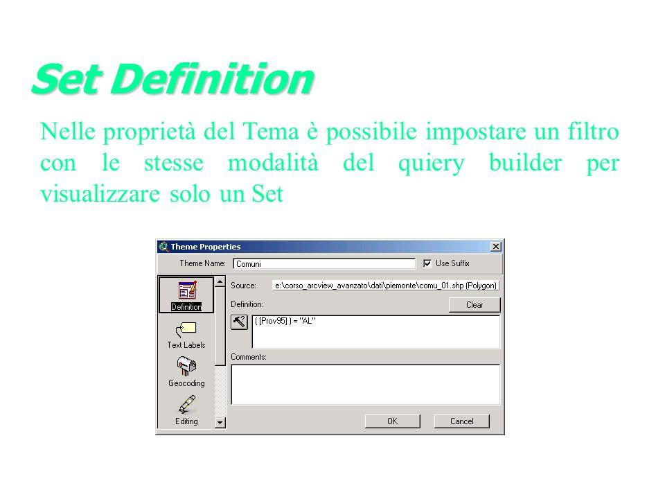 Nelle proprietà del Tema è possibile impostare un filtro con le stesse modalità del quiery builder per visualizzare solo un Set Set Definition
