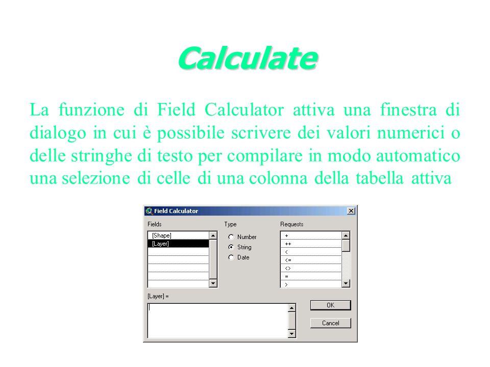 La funzione di Field Calculator attiva una finestra di dialogo in cui è possibile scrivere dei valori numerici o delle stringhe di testo per compilare in modo automatico una selezione di celle di una colonna della tabella attiva Calculate