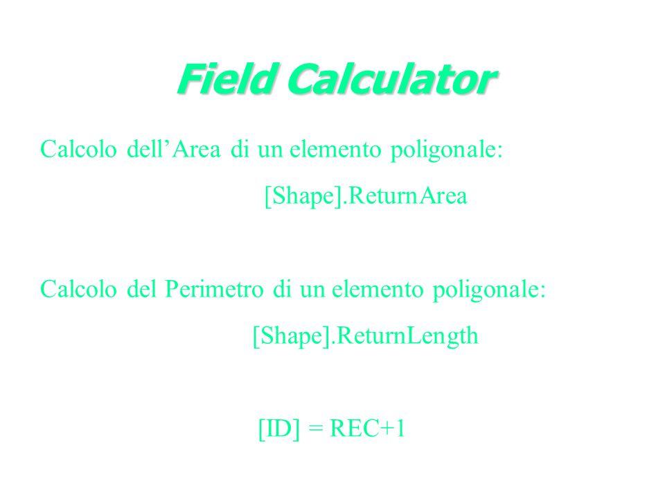 Calcolo dellArea di un elemento poligonale: [Shape].ReturnArea Calcolo del Perimetro di un elemento poligonale: [Shape].ReturnLength [ID] = REC+1 Field Calculator