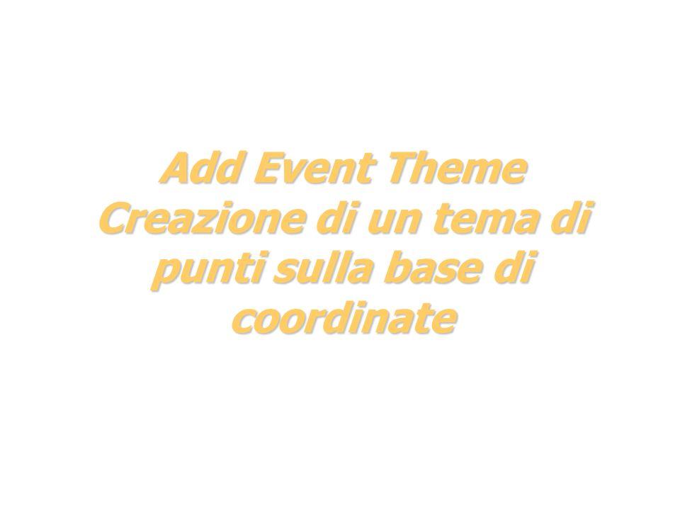Add Event Theme Creazione di un tema di punti sulla base di coordinate