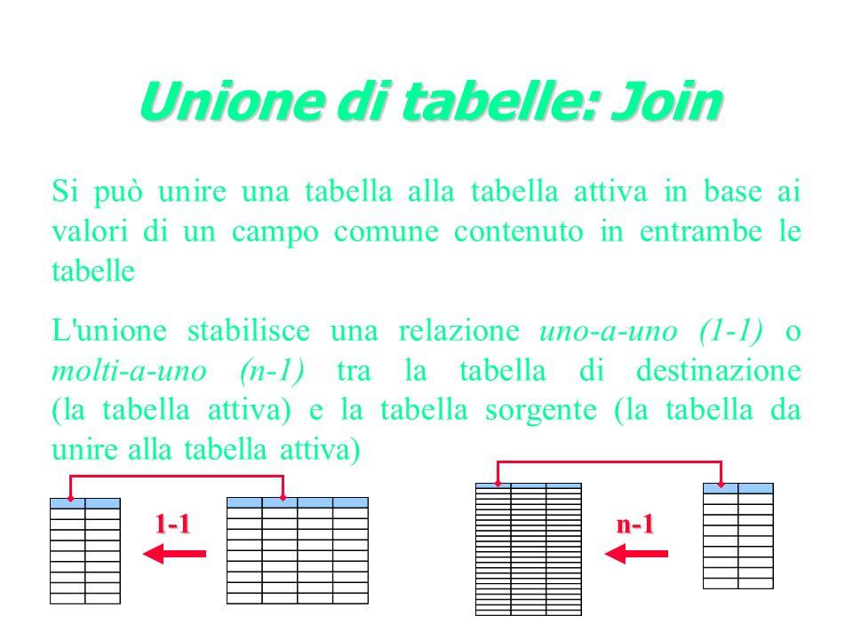 Unione di tabelle: Join Si può unire una tabella alla tabella attiva in base ai valori di un campo comune contenuto in entrambe le tabelle L unione stabilisce una relazione uno-a-uno (1-1) o molti-a-uno (n-1) tra la tabella di destinazione (la tabella attiva) e la tabella sorgente (la tabella da unire alla tabella attiva) 1-1n-1