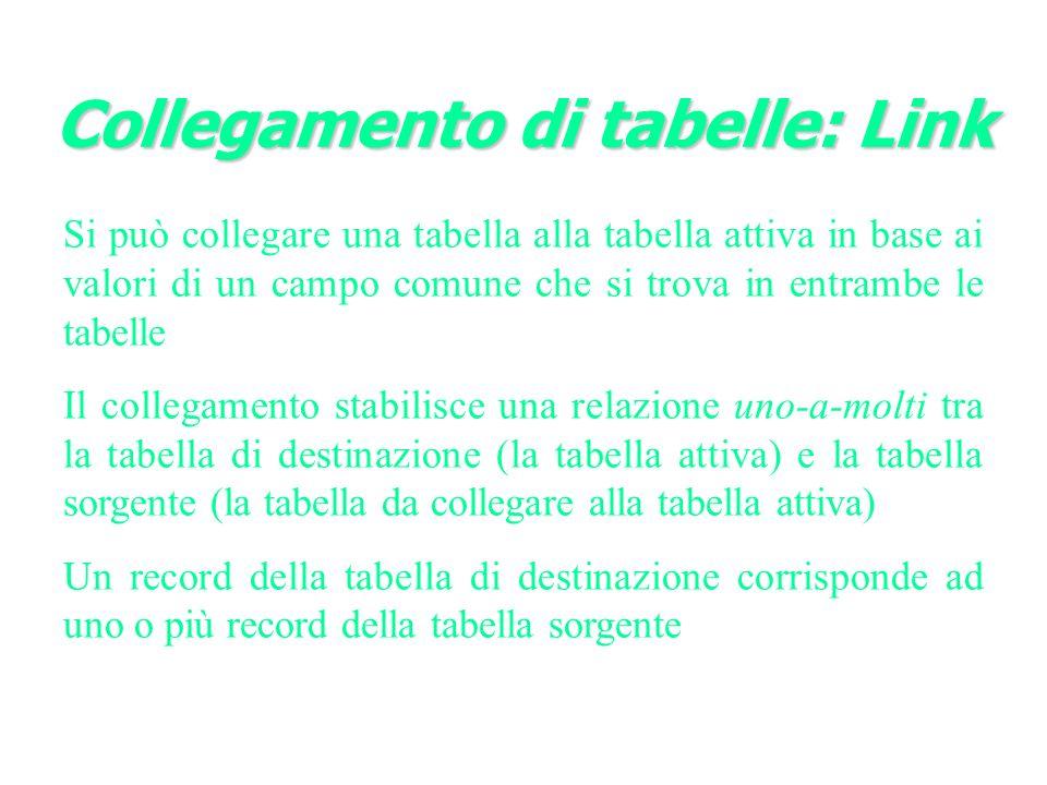 Collegamento di tabelle: Link Si può collegare una tabella alla tabella attiva in base ai valori di un campo comune che si trova in entrambe le tabelle Il collegamento stabilisce una relazione uno-a-molti tra la tabella di destinazione (la tabella attiva) e la tabella sorgente (la tabella da collegare alla tabella attiva) Un record della tabella di destinazione corrisponde ad uno o più record della tabella sorgente