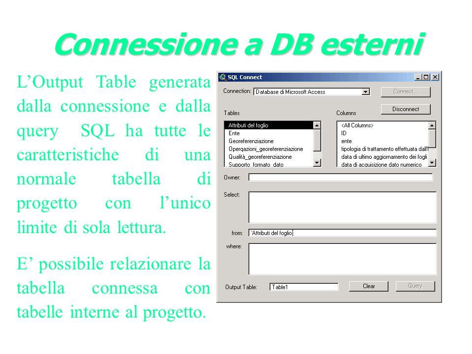 LOutput Table generata dalla connessione e dalla query SQL ha tutte le caratteristiche di una normale tabella di progetto con lunico limite di sola lettura.