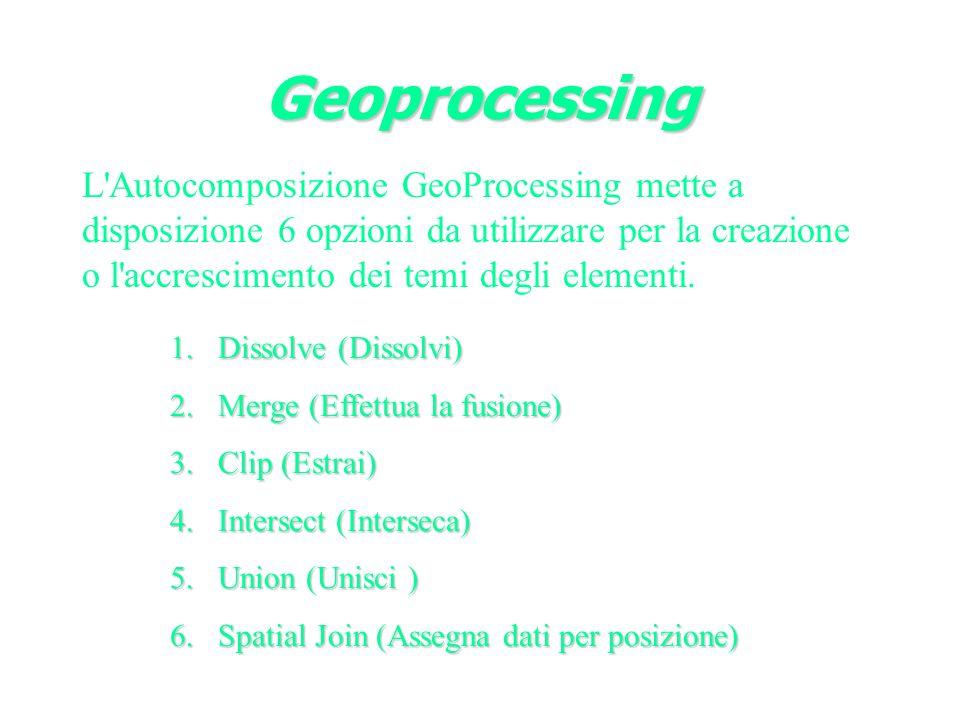 L Autocomposizione GeoProcessing mette a disposizione 6 opzioni da utilizzare per la creazione o l accrescimento dei temi degli elementi.
