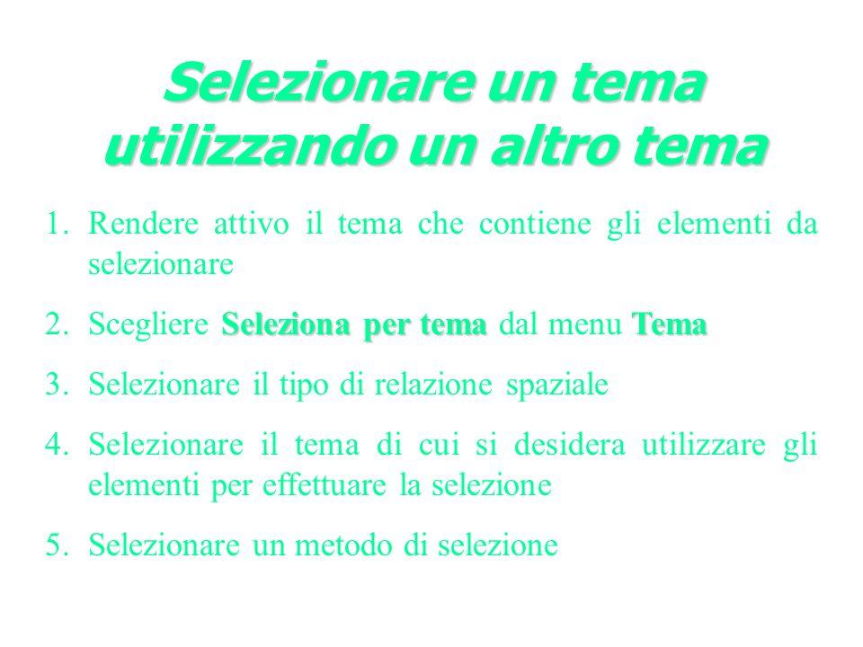 Selezionare un tema utilizzando un altro tema 1.Rendere attivo il tema che contiene gli elementi da selezionare Seleziona per temaTema 2.Scegliere Seleziona per tema dal menu Tema 3.Selezionare il tipo di relazione spaziale 4.Selezionare il tema di cui si desidera utilizzare gli elementi per effettuare la selezione 5.Selezionare un metodo di selezione