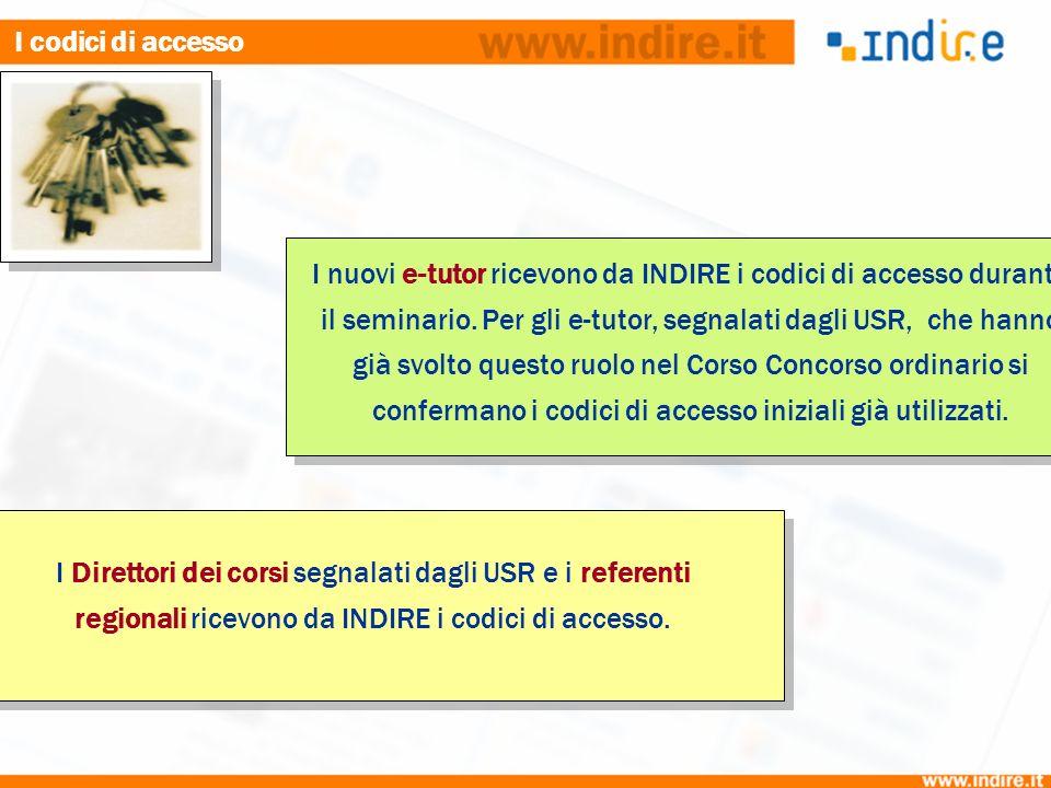 I nuovi e-tutor ricevono da INDIRE i codici di accesso durante il seminario. Per gli e-tutor, segnalati dagli USR, che hanno già svolto questo ruolo n