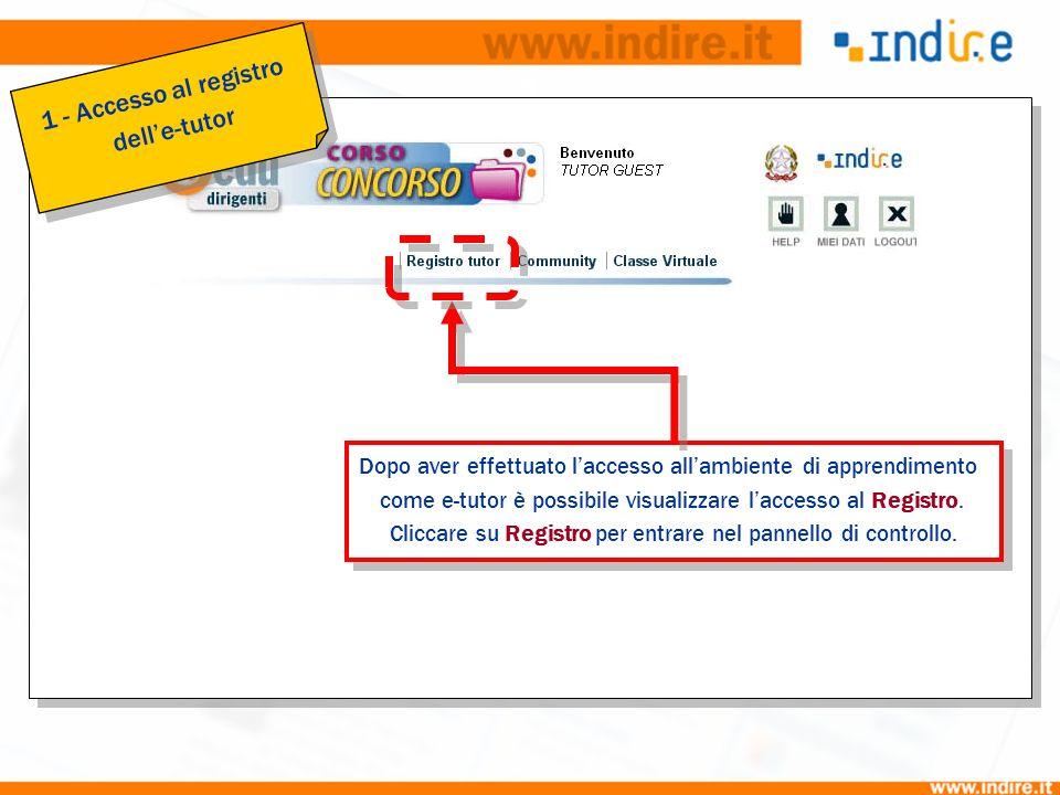 1 Dopo aver effettuato laccesso allambiente di apprendimento come e-tutor è possibile visualizzare laccesso al Registro. Cliccare su Registro per entr