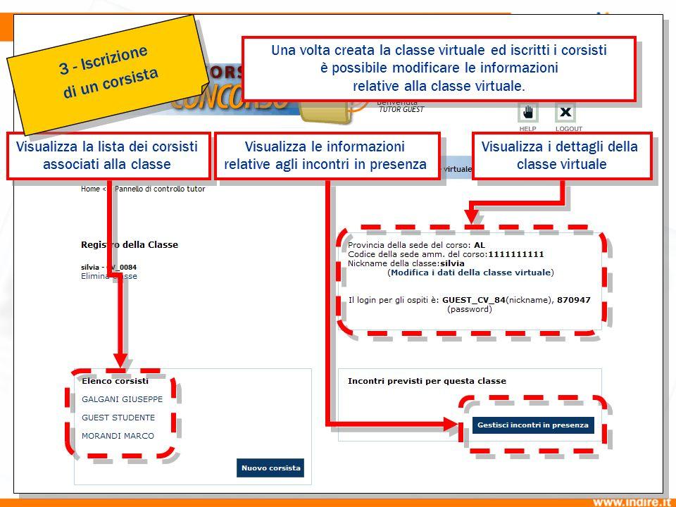 3b Visualizza la lista dei corsisti associati alla classe Visualizza la lista dei corsisti associati alla classe Visualizza le informazioni relative a