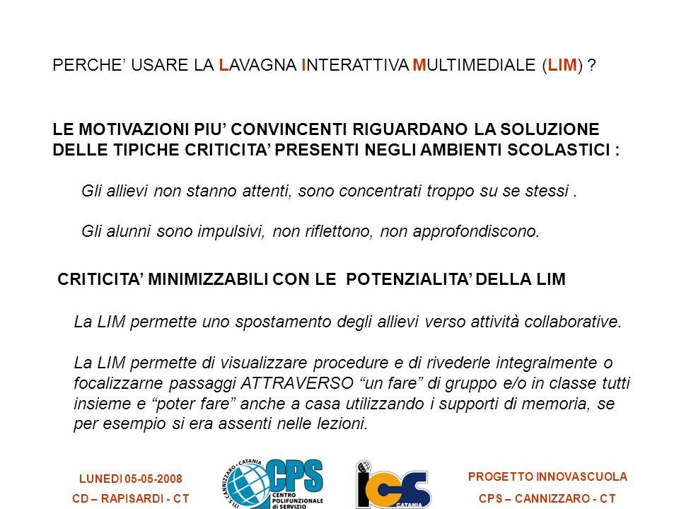 LUNEDI 05-05-2008 CD – RAPISARDI - CT PROGETTO INNOVASCUOLA CPS – CANNIZZARO - CT Ma in generale cosa si fa la LIM .