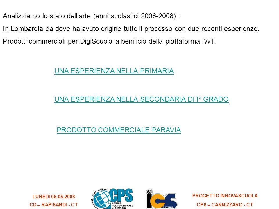 LUNEDI 05-05-2008 CD – RAPISARDI - CT PROGETTO INNOVASCUOLA CPS – CANNIZZARO - CT Analizziamo lo stato dellarte (anni scolastici 2006-2008) : In Lombardia da dove ha avuto origine tutto il processo con due recenti esperienze.