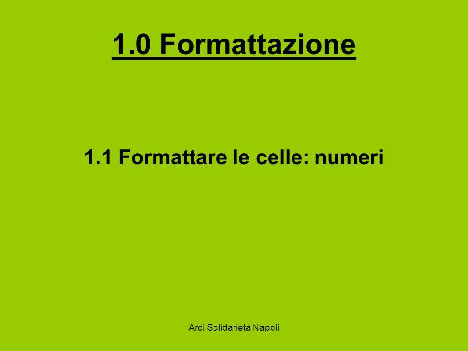 Arci Solidarietà Napoli 1.3.2 Aggiungere un bordo a un insieme di celle Per attivare la formattazione automatica, selezionare la zona da formattare fare click su Formato/Formattazione automatica.