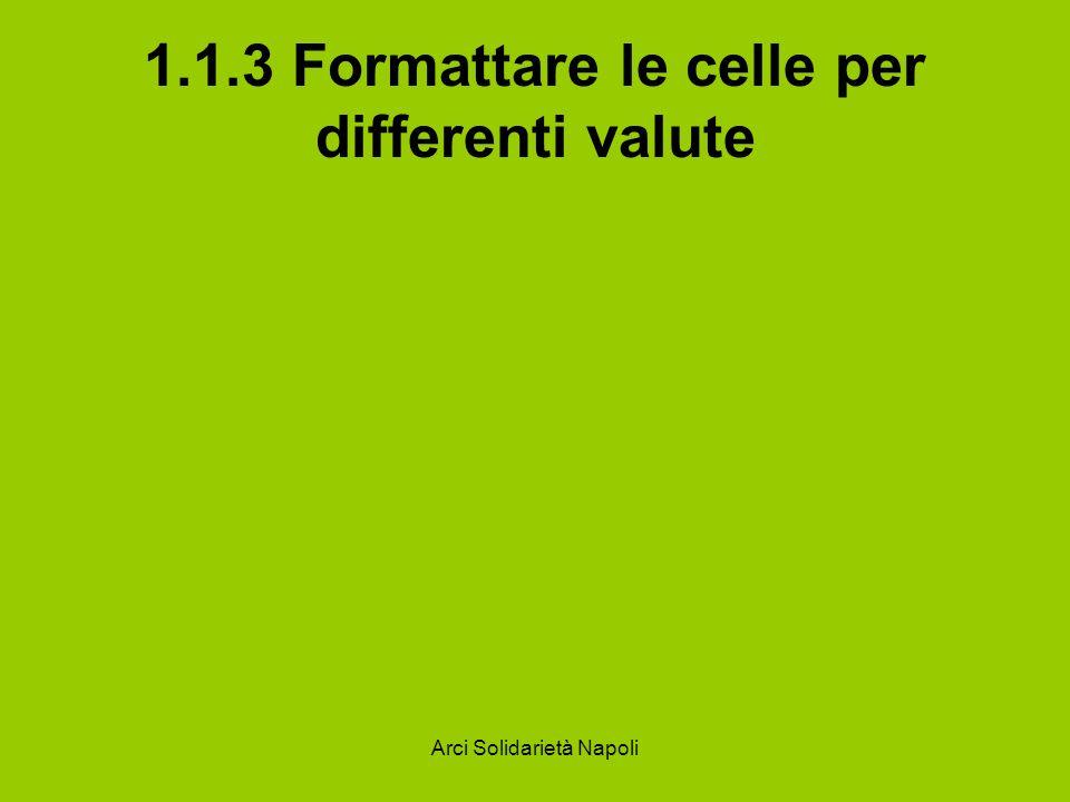 Arci Solidarietà Napoli 1.1.3 Formattare le celle per differenti valute