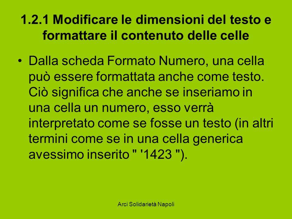 Arci Solidarietà Napoli 1.2.1 Modificare le dimensioni del testo e formattare il contenuto delle celle Dalla scheda Formato Numero, una cella può esse