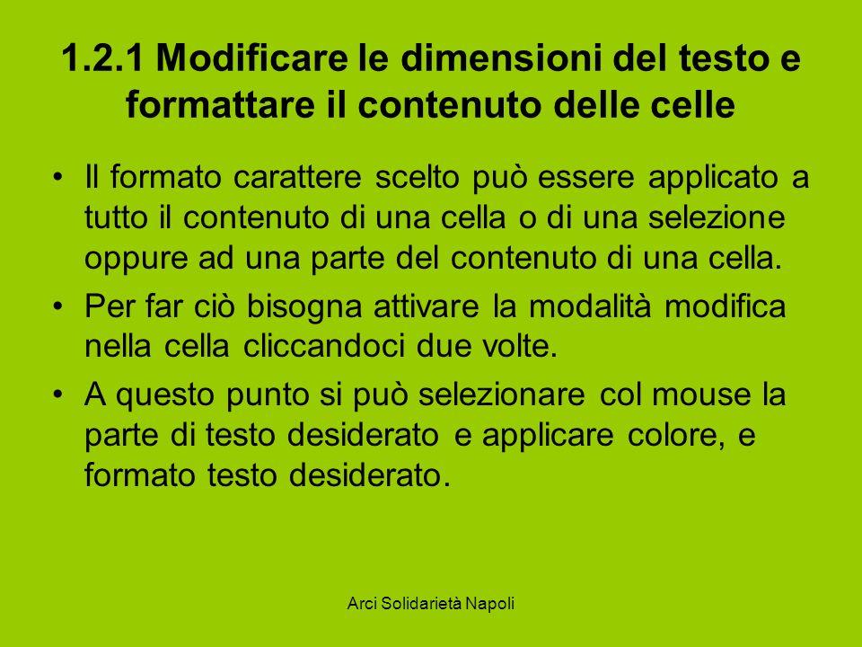 Arci Solidarietà Napoli 1.2.1 Modificare le dimensioni del testo e formattare il contenuto delle celle Il formato carattere scelto può essere applicat