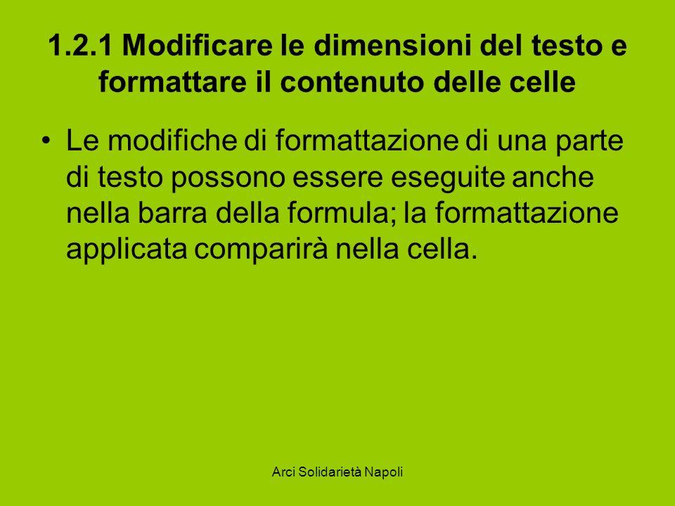 Arci Solidarietà Napoli 1.2.1 Modificare le dimensioni del testo e formattare il contenuto delle celle Le modifiche di formattazione di una parte di t