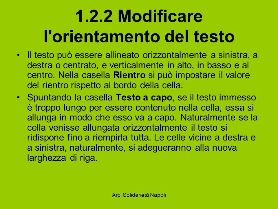 Arci Solidarietà Napoli 1.2.2 Modificare l'orientamento del testo Il testo può essere allineato orizzontalmente a sinistra, a destra o centrato, e ver