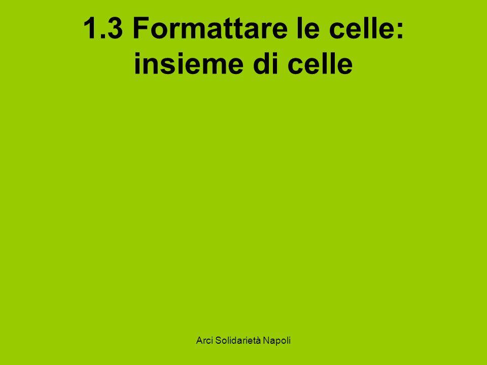 Arci Solidarietà Napoli 1.3 Formattare le celle: insieme di celle