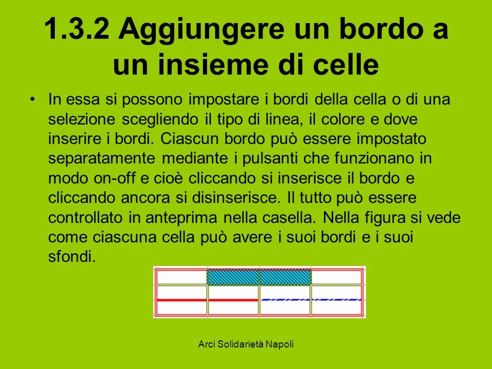 Arci Solidarietà Napoli 1.3.2 Aggiungere un bordo a un insieme di celle In essa si possono impostare i bordi della cella o di una selezione scegliendo