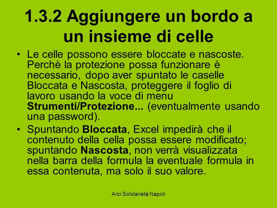 Arci Solidarietà Napoli 1.3.2 Aggiungere un bordo a un insieme di celle Le celle possono essere bloccate e nascoste. Perchè la protezione possa funzio