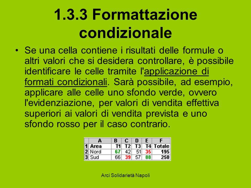 Arci Solidarietà Napoli 1.3.3 Formattazione condizionale Se una cella contiene i risultati delle formule o altri valori che si desidera controllare, è