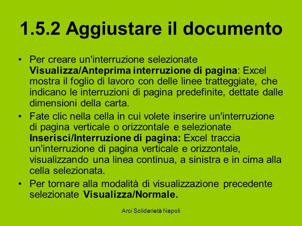 Arci Solidarietà Napoli 1.5.2 Aggiustare il documento Per creare un'interruzione selezionate Visualizza/Anteprima interruzione di pagina: Excel mostra