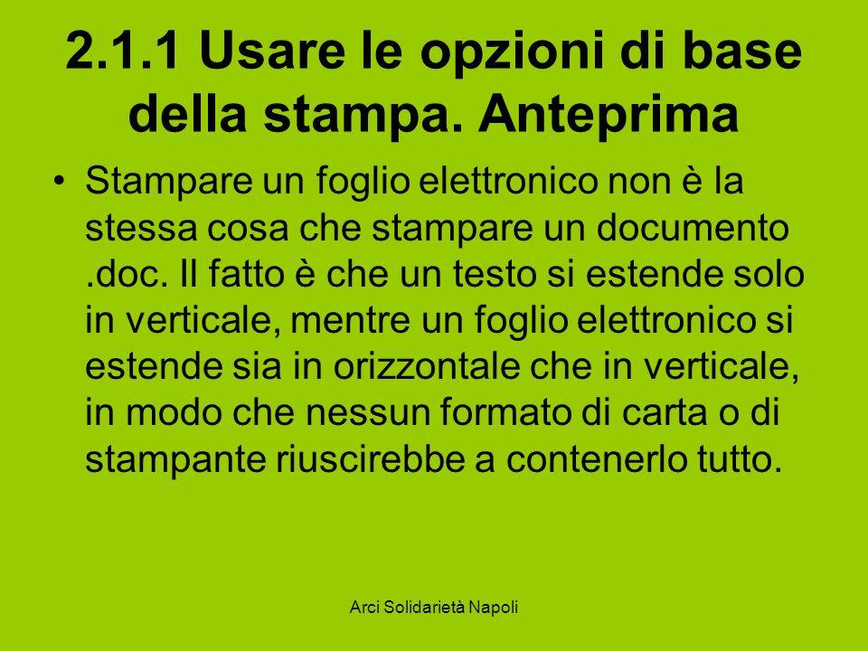 Arci Solidarietà Napoli 2.1.1 Usare le opzioni di base della stampa. Anteprima Stampare un foglio elettronico non è la stessa cosa che stampare un doc