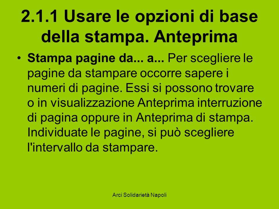 Arci Solidarietà Napoli 2.1.1 Usare le opzioni di base della stampa. Anteprima Stampa pagine da... a... Per scegliere le pagine da stampare occorre sa