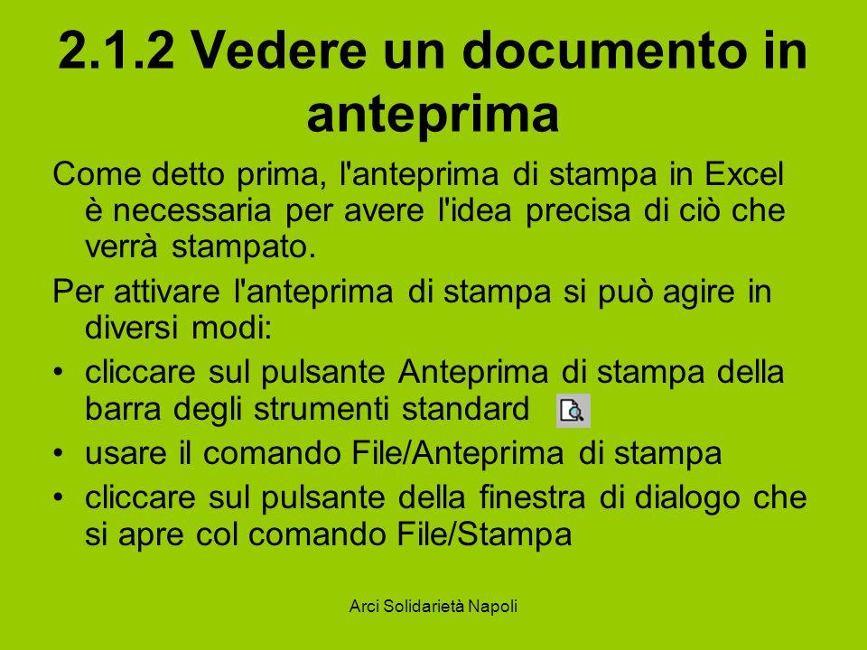 Arci Solidarietà Napoli 2.1.2 Vedere un documento in anteprima Come detto prima, l'anteprima di stampa in Excel è necessaria per avere l'idea precisa