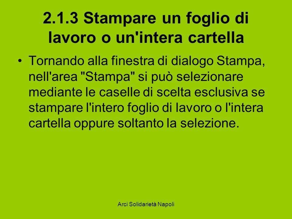 Arci Solidarietà Napoli 2.1.3 Stampare un foglio di lavoro o un'intera cartella Tornando alla finestra di dialogo Stampa, nell'area